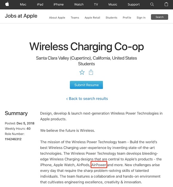 Apple AirPower 求人