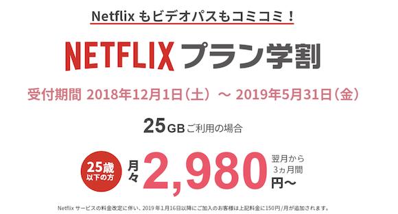 「auフラットプラン25 Netflixパック」