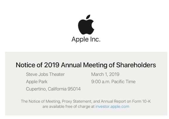 Apple 株主総会 開催通知