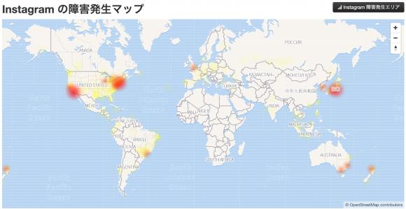 Instagram障害発生マップ