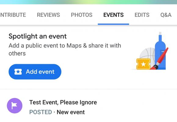 Googleマップにイベント機能が追加との報告