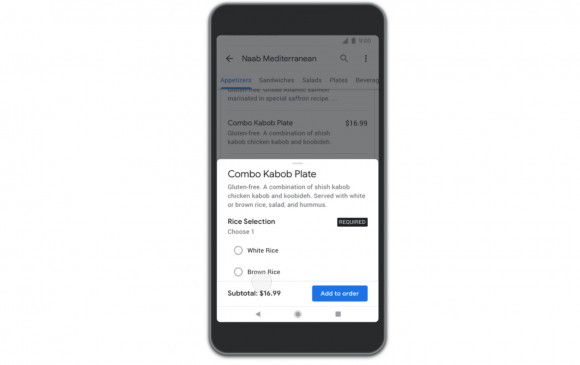 Googleのフードデリバリーサービス機能