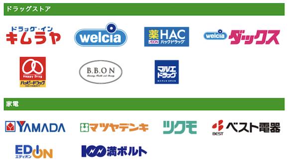 「ゆうちょPay」サービス開始当初の主な対応店舗