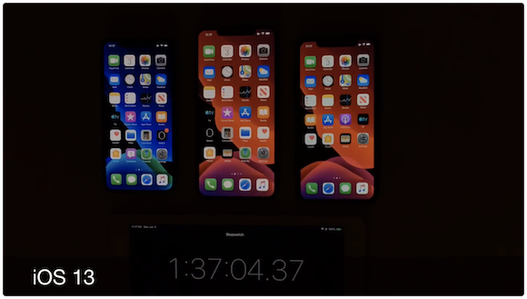 iOS13 バッテリー持続時間 比較テスト