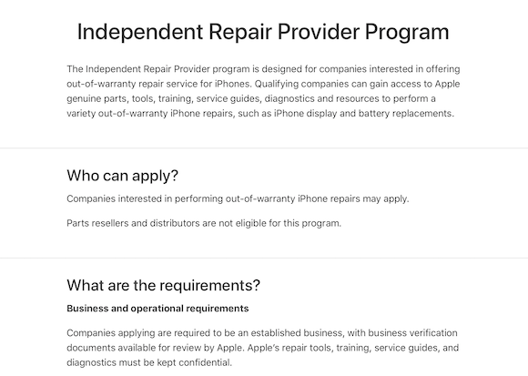Apple Independent Repair Provider Program