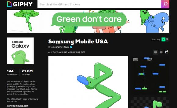 Samsung、公式GIFでiMessageの「青い吹き出し」をネタにする