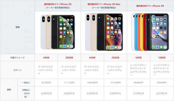 mineo新端末 「iPhone XS」「iPhone XS Max」「iPhone XR」