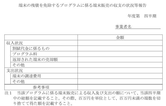 総務省 端末の残債を免除するプログラムに係る端末販売の収支の状況等報告