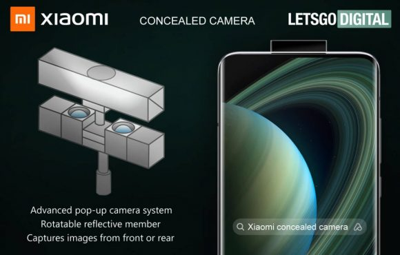 Xiaomiの回転式鏡付きカメラ内蔵スマホの特許