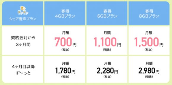 「高速データ通信容量4・6・8GB」のプラン料金が3カ月間、特別料金に-2