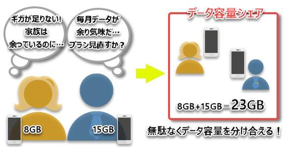 IIJmio ギガプラン データ容量シェア