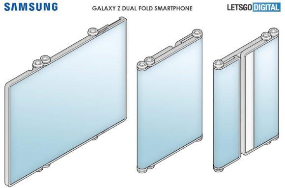 Samsungの3つ折りスマートフォンの画像