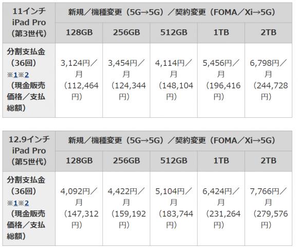 ドコモ 価格表