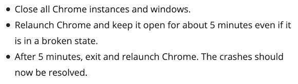 Chrome crash update