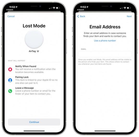 iOS14.6ベータ AirTag 紛失モード メールアドレス