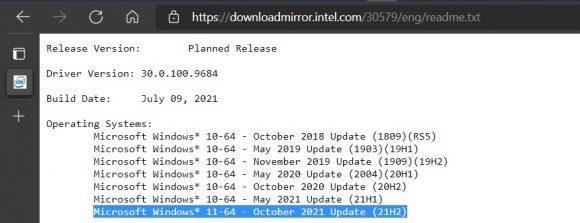 Intel DCH GPUドライバーのリリースノート