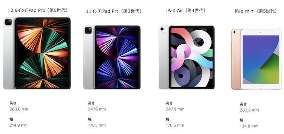 iPad series size