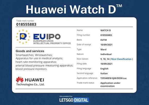 Huawei-Watch-D-Trademark