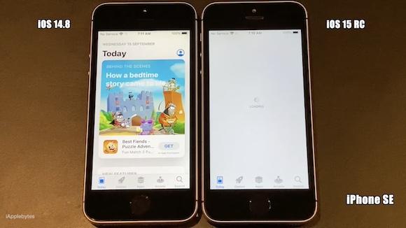 iOS15RC iOS14.8 動作速度 比較