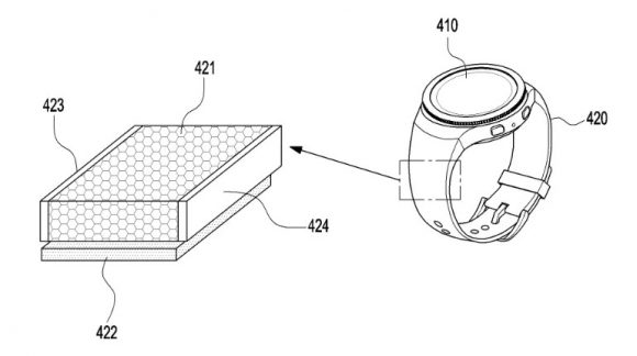 Samsungのバンド部に太陽電池を搭載するスマートウォッチの特許画像